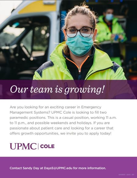 UPMC Cole Is Hiring Paramedics