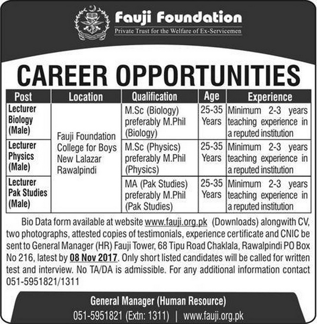 Fauji Foundation Schools Jobs in  Islamabad