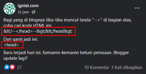bug blogger update kode baru