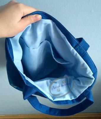Adzik tworzy - materiałowa torebka z psami niebieska