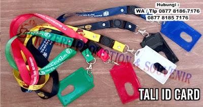 Tali Id polos / sablon, Tali Name Tag/ Lanyard Pro, Jepitan Garis / Plastik, id Card / card Member magnetic kosong, tali HP / USB, Yoyo + Logo Id / nama perusahaan/ organisasi dapat dicetak dengan sablon dan printing (bisa full color)