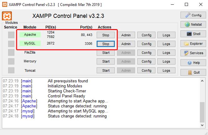 Tampilan Xampp Setelah Dijalankan - Ari Prasetyawan