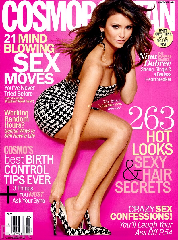 Nina Dobrev goes glamorous for Cosmopolitan September 2013