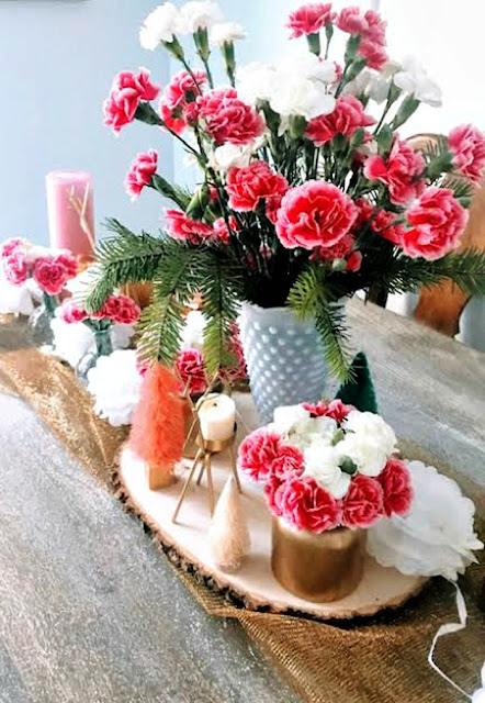 carnations, candles, winter, bouquet, centerpiece, bottle brush, athomewithjemma