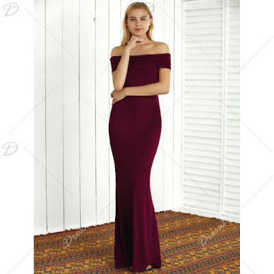 Off The Shoulder Sheath Mermaid Maxi Dress