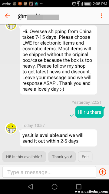 Chatting with seller at Shopee
