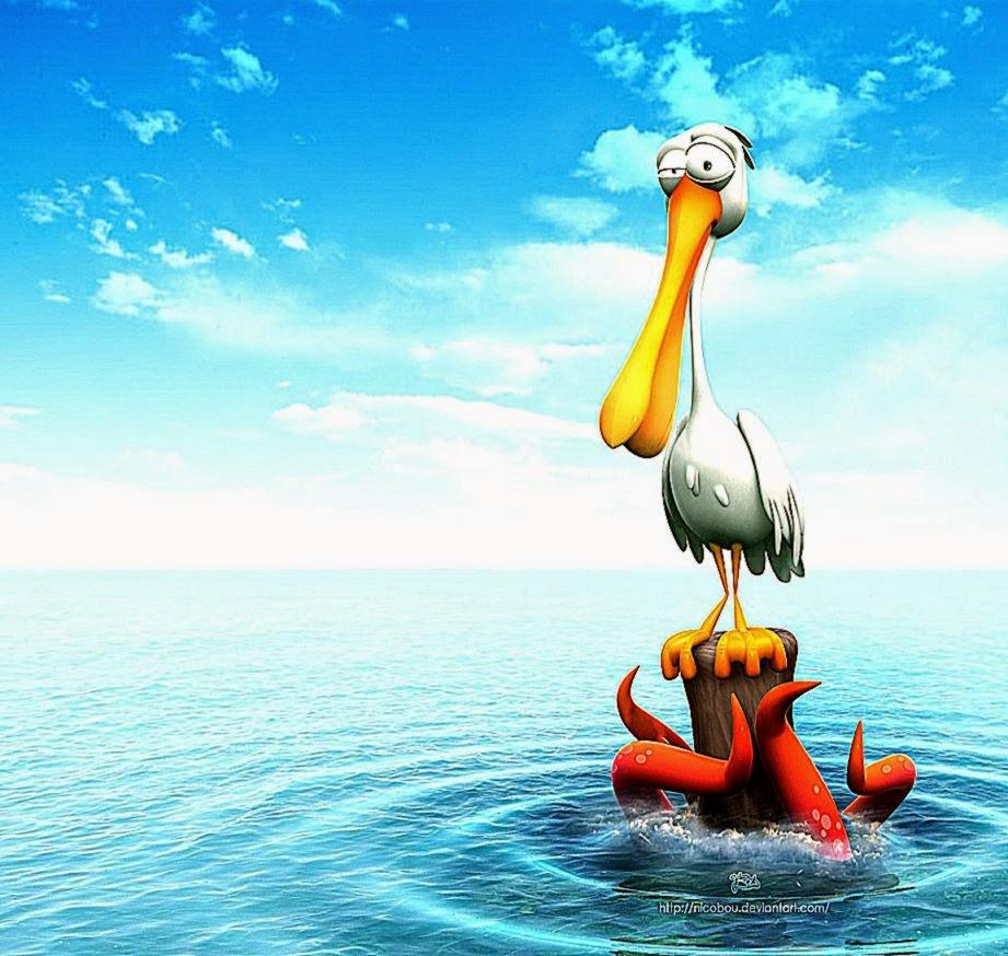 Funny 3D Cartoon Bird Desktop Wallpaper
