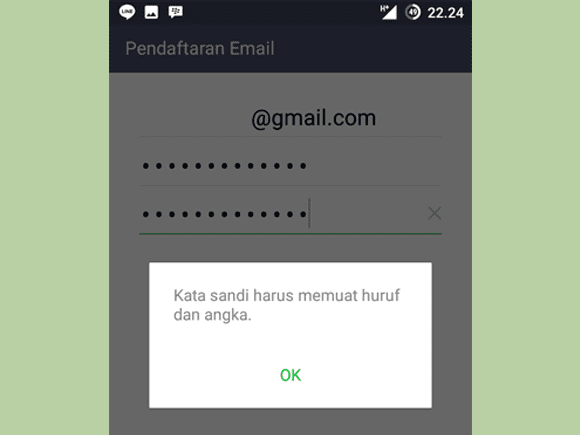 pendaftaran email LINE error