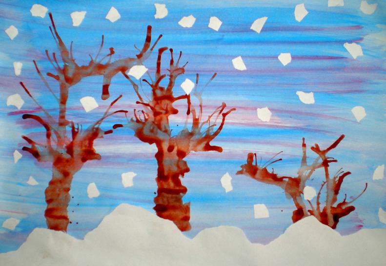 """Arte plastice-tehnici de lucru: """"Iarna"""""""