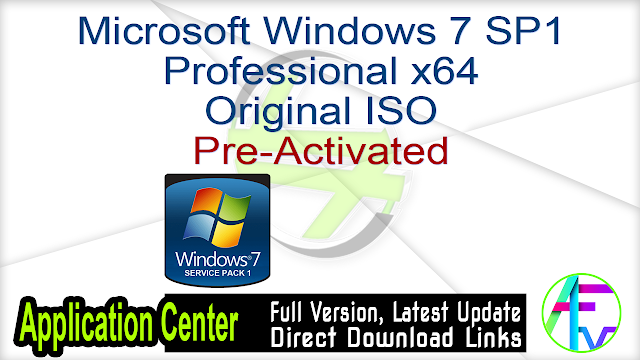 Microsoft Windows 7 SP1 Professional x64 original ISO Pre-Activated