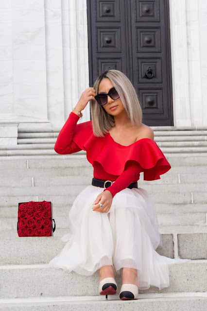 red off the shoulder top with tulle skirt