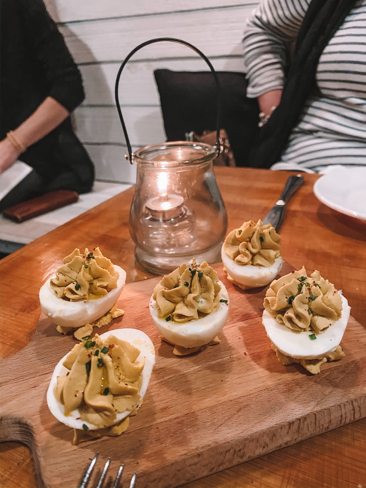 travel blogger Amanda's OK recommends the deviled eggs at The Heritage Table in Frisco, Texas