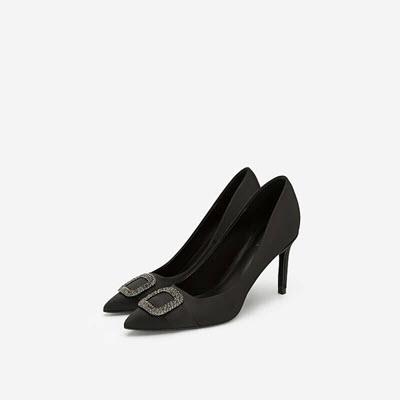 Giày Cao Gót Nhọn Phối Pha Lê - BMN 0412 - Màu Đen