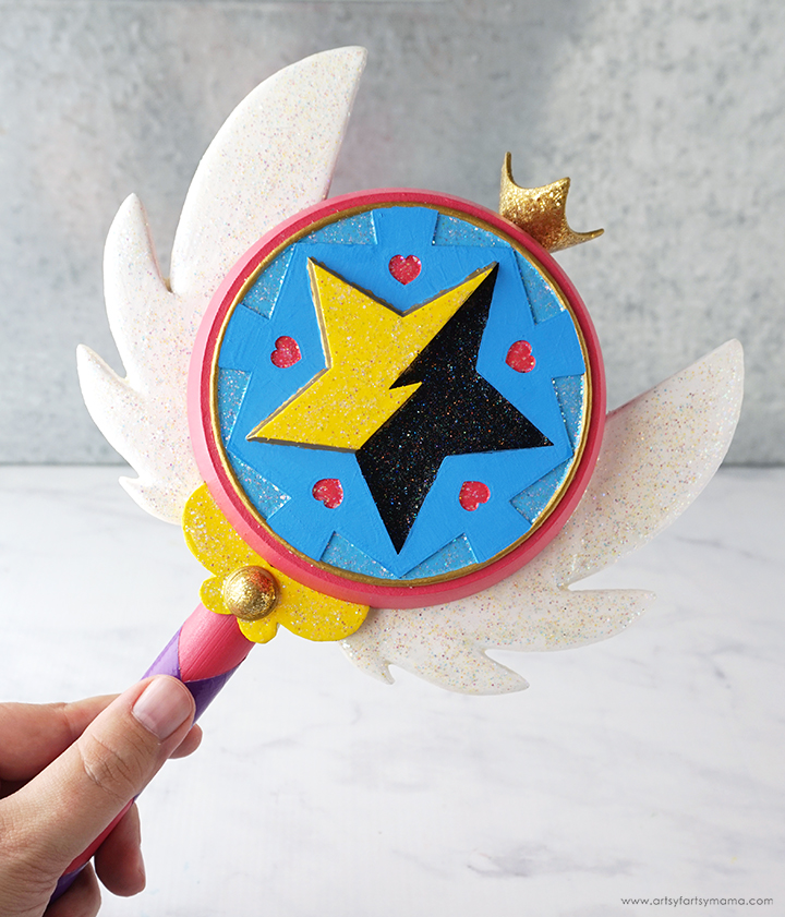 Hand holding DIY Star Butterfly Wand