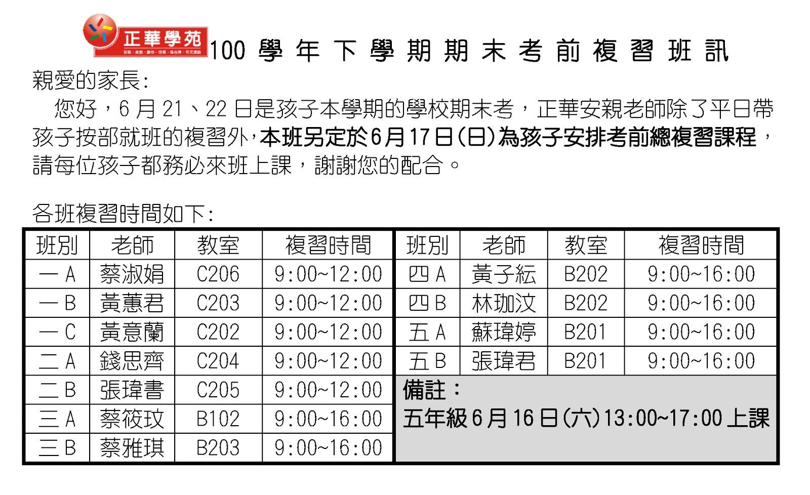 ★正華【期末考複習】通知!   正華資優教育學苑 永平校