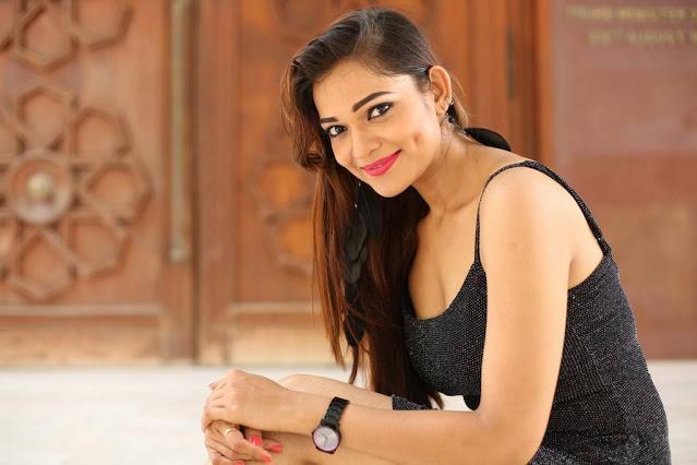 Actress Ashwini Latest Hot Stills In Black Dress Navel Queens