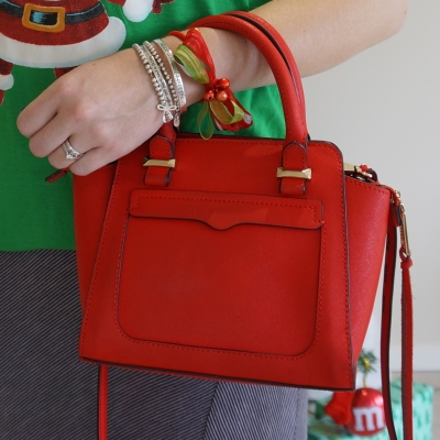 Rebecca Minkoff red micro Avery cross body bag with ribbon and bell Christmas bracelet| away from the blue
