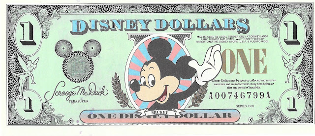 Mickey Mouse Disney Dollar 1998 Disneyland
