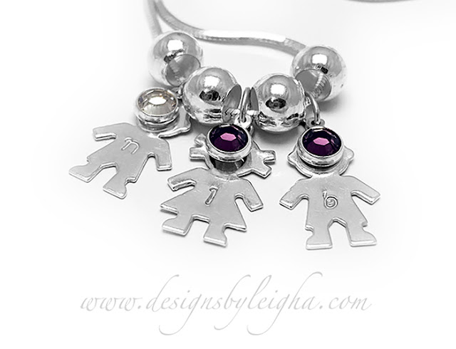 2 Boys and 1 Girl Charm Necklace with Birthstones and Kids' Initials