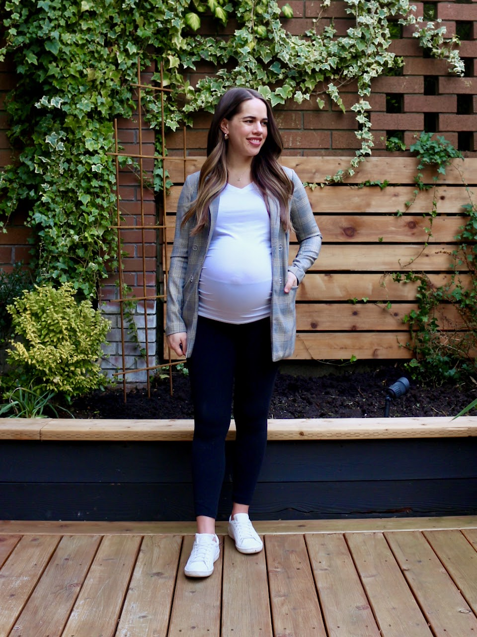 Jules in Flats - Leggings and T-Shirt Outfit with Blazer (Business Casual Workwear on a Budget)