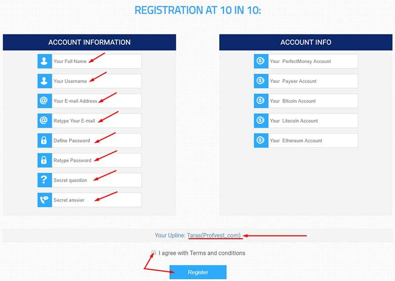 Регистрация в 10in10 2