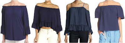 One of these off the shoulder tops is from Rebecca Taylor for $225 and the other three are under $33. Can you guess which one is the designer top? Click the links below to see if you are correct!