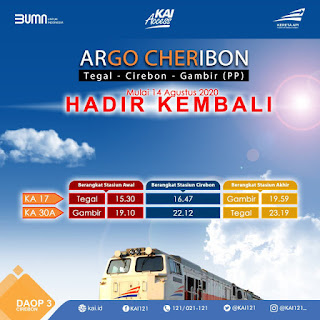 KAI Kembali Jalankan KA Argo Cheribon Mulai 14 Agustus 2020