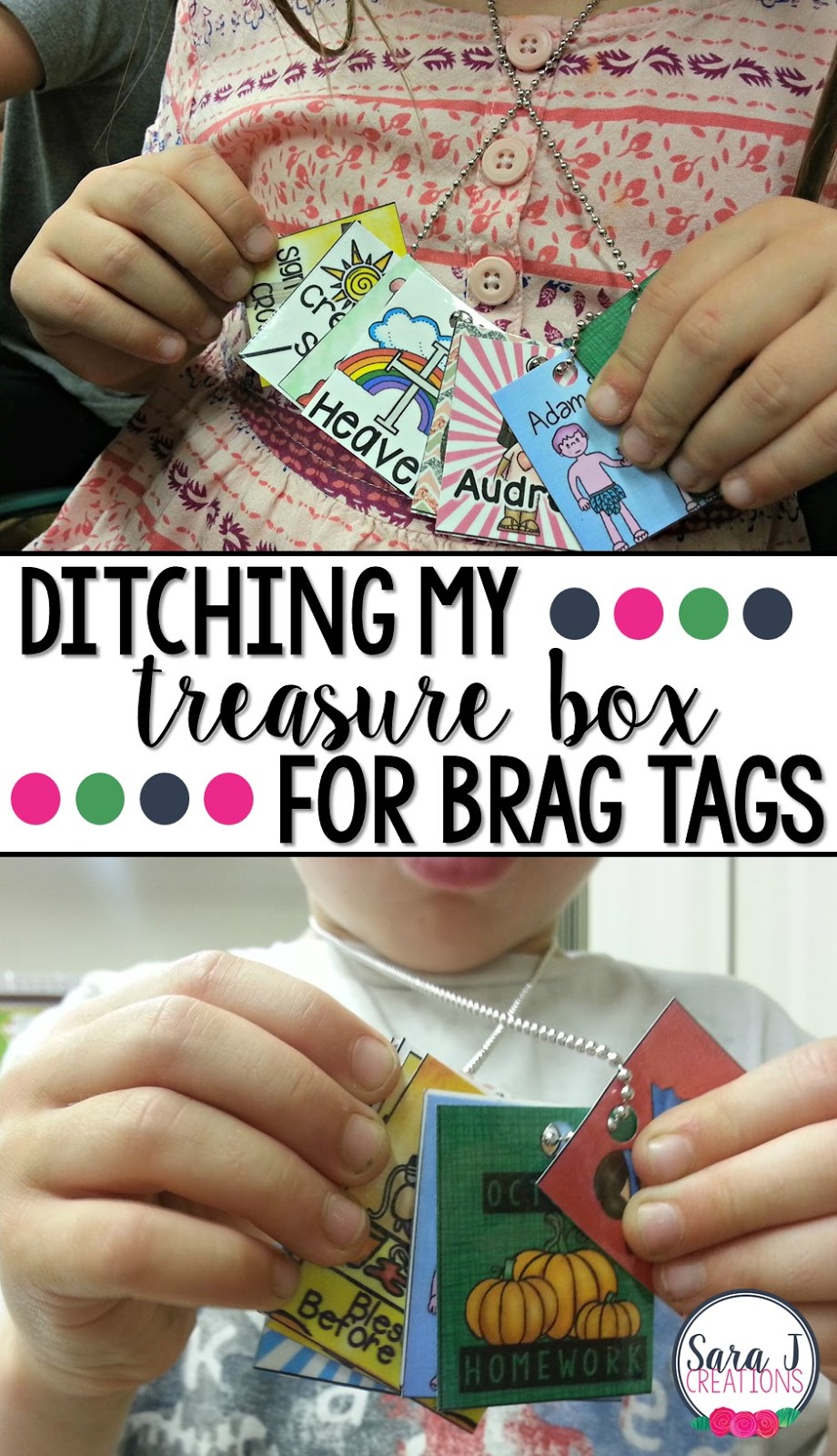 Why I ditched my treasure box and started rewarding positive behavor in the classroom with brag tag necklaces.