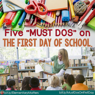 "Five ""Must Dos"" on the first day of school: There are a whole lot of fun things to do on that first day, but these are 5 things I'll make sure happen every first day!"