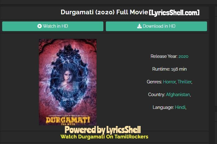 Durgamati Full HD Available For Free Download