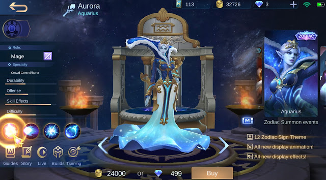 Skin Zodiac Terbaru Mobile Legends Aquarius Aurora Januari 2020