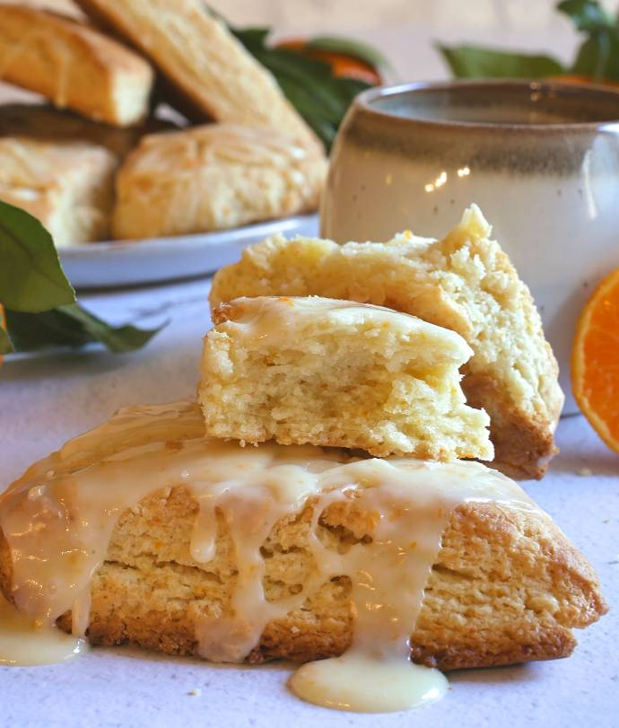 Recipe for cream scones flavored with satsuma mandarin orange juice and zest, topped with a mandarin orange glaze.