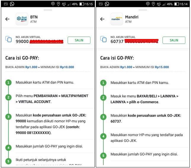 Cara Top Up Go Pay Menggunakan ATM BTN dan Mandiri