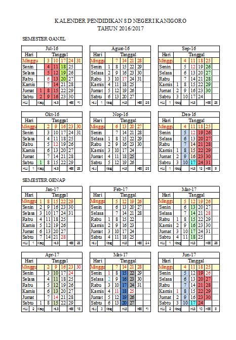 Sekolah Dasar Negeri Kanigoro Kalender Pendidikan 2016 2017
