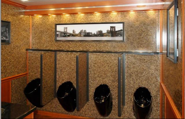 Black Porcelain Urinals in The Manhattan Trailer