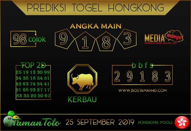 Prediksi Togel HONGKONG TAMAN TOTO 25 SEPTEMBER 2019