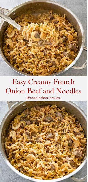 Easy Creamy French Onion Beef and Noodles Recipe