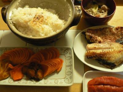 夕食の献立 献立レシピ 飽きない献立 秋田こまちで土鍋炊き