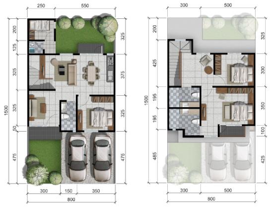 2 Denah Rumah Minimalis Ukuran 8x15 Meter 4 Kamar Tidur 2