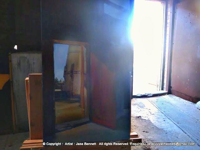 oil painting of interior of White Bay Power Station by artist Jane Bennett