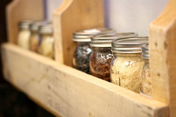 Food Storage Friday #26: Making Mason Jar Shelves out of Pallets