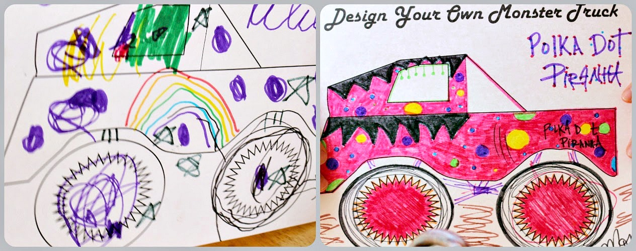design your own monster truck coloring sheet