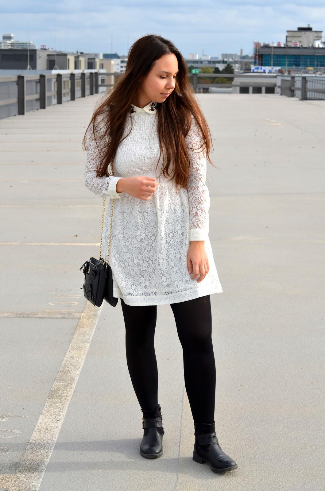 weißes Spitzenkleid H&M