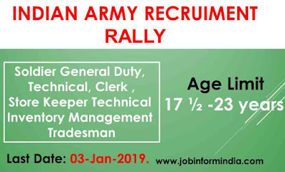 Indian Army Recruitment Rally 2019 For Soldier General Duty, Technical, Clerk & Other Posts