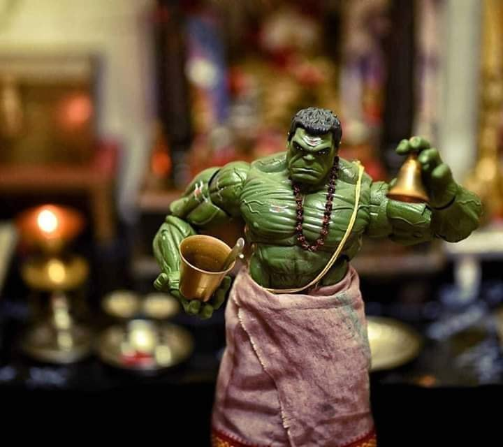 Super Hero Hulk making rituals