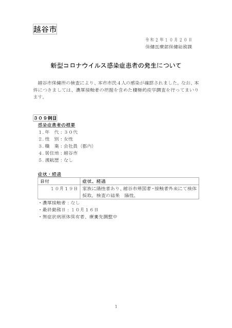 新型コロナウイルス感染症患者の発生について(10月20日発表)