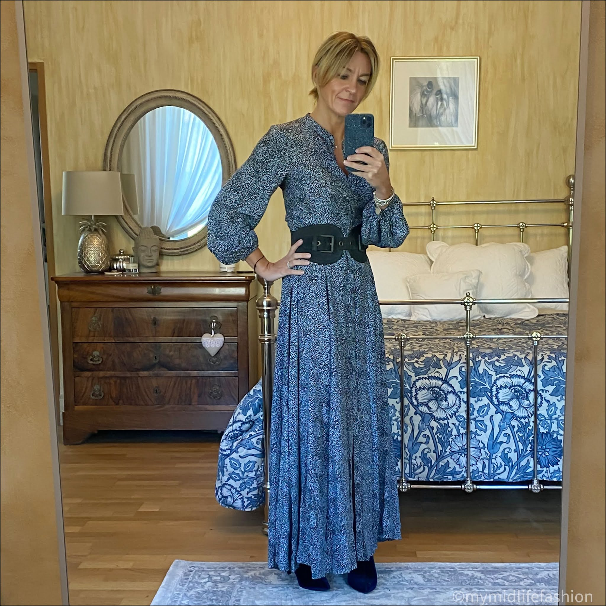 my midlife fashion, Somerset by Alice temperley leopard print maxi dress, mulberry suede waist buckle belt, marks and Spencer stiletto heel velvet ankle boots