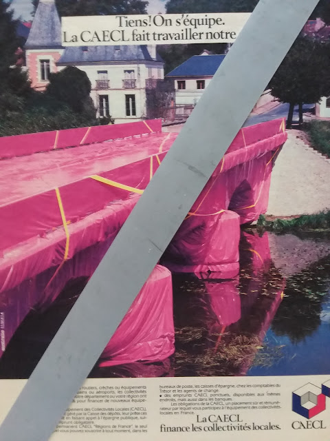 Wrapped bridge in the style of Christo, Preuilly sur Claise, Indre et Loire, France.
