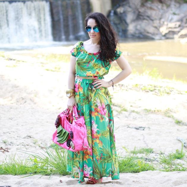 Tropical Print Crop Top and Skirt Set