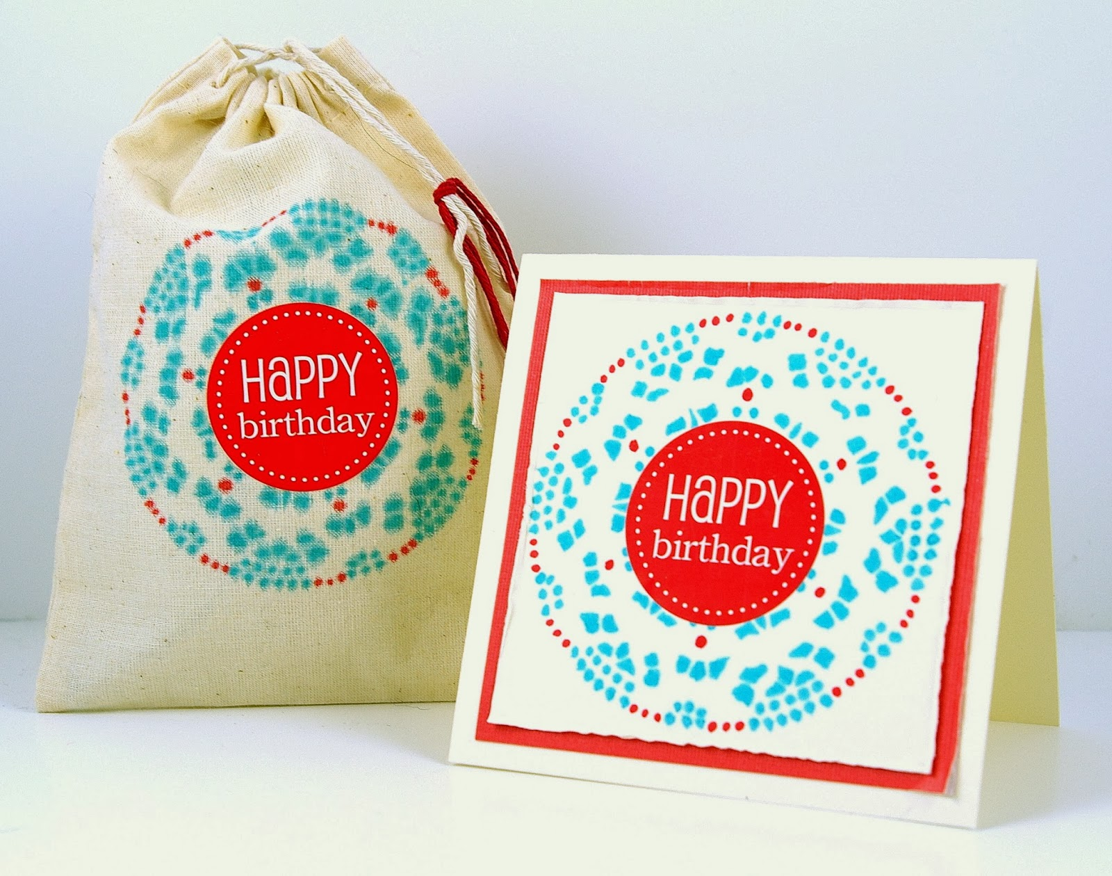 SRM Stickers Blog - Doily Stenciled Birthday Bag by Michelle - #birthday #card #doilies #gift #bag #muslin #twine #gift #stencil